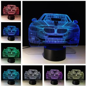 Fast Speed Sports Car 3D Night Light Acrylic Plate 7 Colors Changing Touch Roome Table Lamp Home Party Decor Boy Kids Friends Birthday Gifts