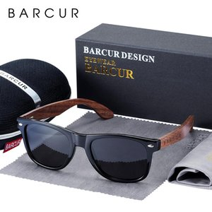 Barcur High Quality Black Walnut Sunglasses Anti-Reflecti Men Women Mirror Sun Glasses Male Uv400 Wooden Sunglass Shades Oculos Tndiw