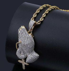 18 Karat vergoldet Christian Kreuz Gebet Geste Vintage Halskette Lad Diamond Hip Hop Hipster Männer und Frauen Anhänger