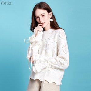 ARTKA 2019 осень новый женский свитер мода полый Мохер вязаные свитера О-образным вырезом пуловер Flare рукавом шерстяной свитер YB11798D