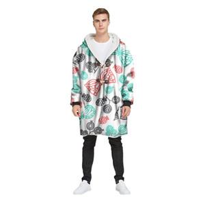 Erkek Kış Uzun Kapşonlu Horn Toka Artı Kadife Kalın 3D Baskılı Coat Orta-Uzun Parkas pamuk gençlik giyim 12.5 rüzgarlık