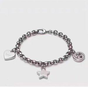 estilo luxuoso S925 prata pingente de pulseira com oco rodada e estilo coração e estrela para mulheres casamento jóias presente PS5264