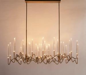 Современное золото Металл Длинные подвеска лампа Кристалл Роскошные люстры Стиль освещения Art Living Room Home Hotel Украшение PA0616