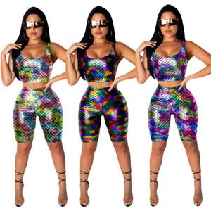 여자 2 조각 세트 패션 스웨터 수확 위쪽 Scoop 목 t- 셔츠 bodycon 레깅스 반바지 무릎 길이 대비 색 여름 의류 278