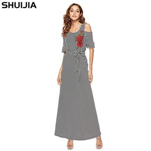womens designer dress female Striped knit embroidered rose short sleeve large swing skirtH