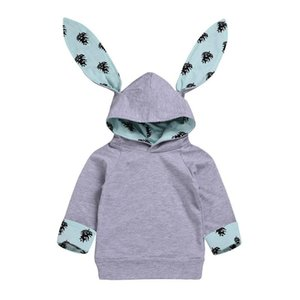 Kids Girls Easter Hoodies Infant Baby Bunny Ear Long Sleeve Sweatshirts Kids Casual Clothes Girls Printed Coat Toddler Easter Outdits
