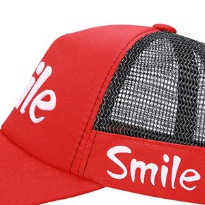 Summer Peaked Cap Smile Letter Printed Mesh Baseball Hat Children Outdoor Headwear With Adjustable Back Closure