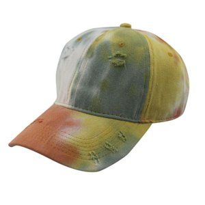Baseball Hat Homens e Mulheres Cotton Casual Mistura Tie-dye Impressa quebrado Proteção Solar 2020 de Moda de Nova Cap Visor ajustável Sun