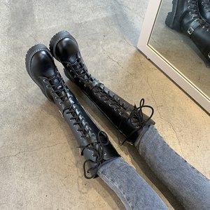 Plus Size 35-52 Nice New Knee High Fashion Rain Boots Women Autumn Buckle Platform Shoes Woman High Heels Ladies Casual Boot
