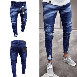 Erkek Jeans İlkbahar Kara Delikler Ripped Jean High Street Hiphop Kalem Pantolon Cepler Hommes Pantalones