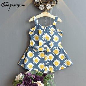 Gooporson verano de las muchachas linda de la colmena de la flor de Trajes Suspender Topskirt niñas bonitas ropa determinada de la manera ropa de los niños