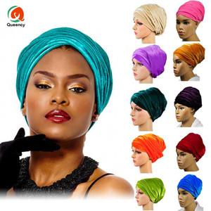 Stoff HQT02 Hohe Menge Indien Muslimische Mützen für Party Hochzeit Afrikanische Headwrap Weiche Samt Turban Schal Kopf Wrap Frauen Headtie