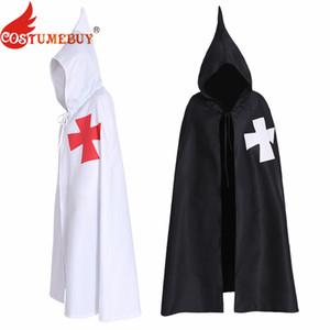 CostumeBuy Хэллоуин мужской плащ мыс крестоносцы белый черный взрослый тамплиер рыцарь косплей костюмы без рукавов куртка мыс пояс