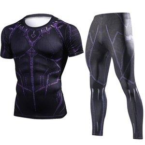 Verão New Black Panther Compression Camiseta Set Homens Marca Treino 3D Imprimir Homens Define Crossfit da aptidão Vestuário Sportswear Suit