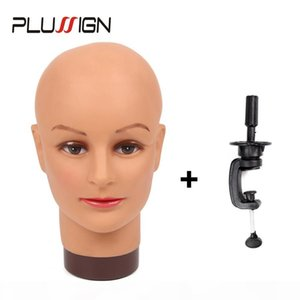 Plussign No Hair Bald Mannequin Head And Wig Stand Set For Wigs Making Display Makeup Practice And Training High Quality