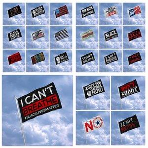 150 * 90см Я не могу дышать Parade Banner Flag Black Lives Matter Джордж Floyd Американский ПАРАД Flags Black Протест Banner RRA3220