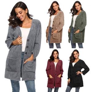 اللون V الرقبة واحدة اعتلى الربيع أزياء الخريف Famale مصمم معطف المرأة القطيفة الدافئة سترة صوفية كنزة الصلبة