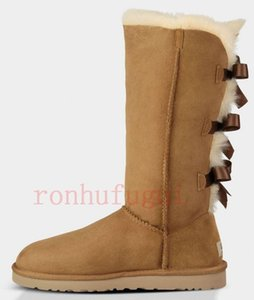 австралия дизайнеруггиuggslisботинки для женщин РГД классических лодыжек короткого лука мех ботинок снег тройных черных каштановых темно-fashio7930 #
