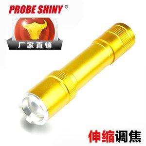 Led Light Gold Lampe de poche flexible Zoom lampe de poche vie en plein air éclairage lampe de poche