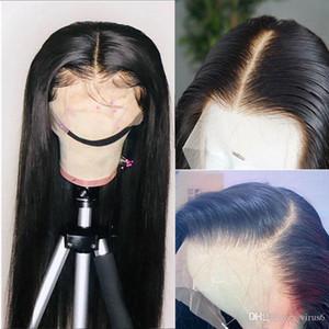 Candeggiati Nodi profonda Parte 13 * 6 HD merletto della parte anteriore dei capelli umani parrucche lungo rettilineo trasparente Pizzo frontale brasiliano Remy