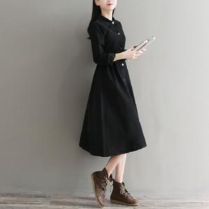Mori Kız Sonbahar Kış Kadın Siyah Elbise Kısın Yaka Katı Kadife Vestidos De Festa Tam Kollu Zarif A-line Elbise 2xl Y190514