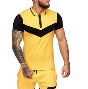 Mens empalme de la solapa de cuello camiseta de manga corta de verano Slim Fit Casual Sport Tees Hombre diseñador de la cremallera camiseta