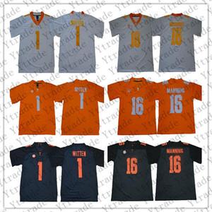 NCAA Tennessee Volunteers Jersey Hommes 1 Jason Witten 16 Peyton Manning Cousu Football Maillots Orange Blanc Gris Meilleure Qualité