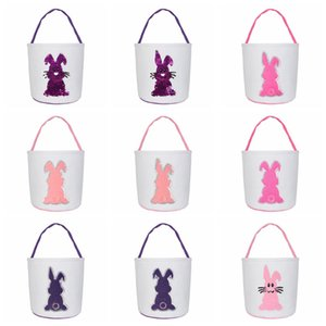 lentejuelas bolso de la cesta de Pascua conejito de almacenamiento conejo linda cesta Poner portátil de Pascua Bolsa de regalo huevos de Pascua redonda caramelo fondo de la bolsa LJJA3562-13