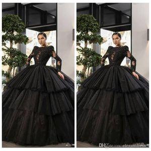 우아한 놀라운 볼 가운 블랙 성인식 드레스 레이스 아플리케 얇은 명주 그물 계층 특별한 행사 파티 드레스 정장 긴 Vestidos 드 야회