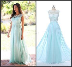 2019 Barato Coral Mint Verde Largo Junior Vestido de dama de honor Gasa Estilo de país Vestidos de dama de honor Vestidos formales La imagen real