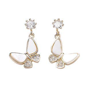 Luxury Designer Butterfly Earrings Stud for Women Girls S925 Sterling Silver Pins Gold Plated Fashion Earrings