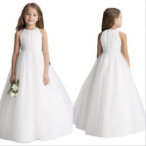 Robes De Mariage De Fleurs De Mariage Simple Puffy Tutu 2020 Toddler Petites Filles Pageant Communion Robe Bleu Rose Blanc Pas Cher