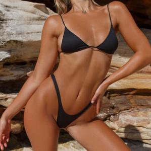 populaire longue corde Bikinis mis en maillots de bain différentes façons de femmes bandage à porter noeud string tissu en nylon usure solide triangle point polychromes croix