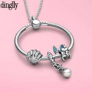 Dinglly New Flounder Beaded Snake Chain Mermaid Pendant Necklace New Charm Necklace For Women Original Fine Girl Jewelry Gift