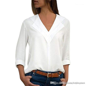 Designer V Neck Shirts Casual Holiday Ladies Panelled Blouse Fashion Pure Color Women Blouses Spring