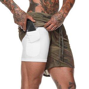 2020 Verano Pantalones cortos para correr Men 2 en 1 Deportes Correr Gimnasio pantalón corto deportivo Formación de dos pisos de entrenamiento de secado rápido camuflaje corto