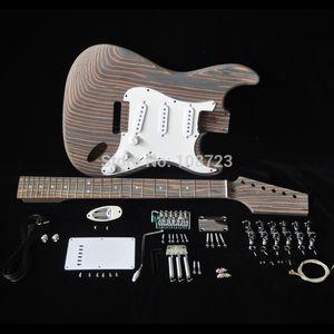 DIY Kit de guitarra eléctrica con cuerpo Zebrawood cebra de madera mástil y diapasón traste 22 S S S Pastillas Kits Personalizados