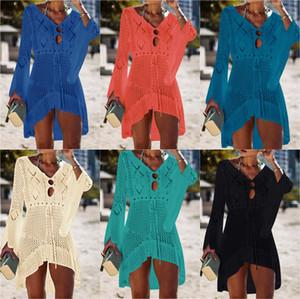 2019 New 보헤미안 White Solid Crochet Tunica Women Summer Bathing Fashion Sexy Holes Flare Y19071001
