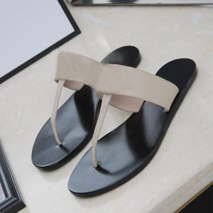 2020 Leather Thong Sandal Women Luxury Desinger Slippers Fashion Thin Black Flip Flops Brand Shoes Black White Brown Red Beige Silver