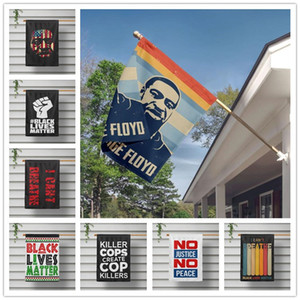 16 estilos Eu não posso respirar Lives preto Bandeira Matéria 40 x 60cm tapeçaria Flags Parade Afirmativas Voar Courtyard bandeira americana