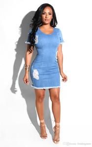 Moda-atractivos rasgaron diseñador de las mujeres vestidos de moda con cuello redondo de lavado apenado de Jean Pencial vestidos de verano de las mujeres ocasionales Ropa