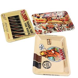4 개 스타일 RAW 작은 크기 담배 압연 금속 트레이 손 흡연 액세서리 담배 도구 롤링 트레이 180 * 125 * 15mm