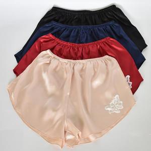 pantalones cortos de seguridad floja fina de seda de imitación de satén casa las mujeres del cordón rosa calzoncillos