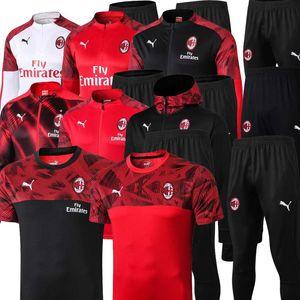 Tamanho S-2XL 2020 AC Milan IBRAHIMOVIC Homens Futebol Kit completa zipper Training Jacket Milan futebol Warm-up terno agasalho tuta Sportiva 2020