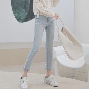 HXJJP 2020 yeni yaz kot kadın kentsel eğlence yüksek belli streç dokuz dakikalık pantolon Kore versiyonu
