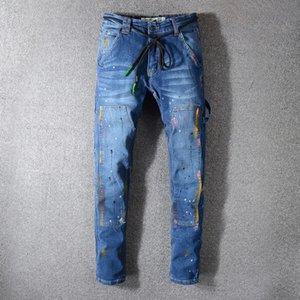 High quality New Mens designer jeans Casual Biker d2 Jeans Denim Knee Hole hip hop printing Hole Pants