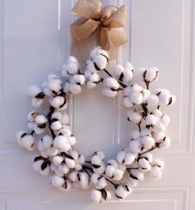 Couronnes Couronne coton réel Ferme Décor vintage de Noël Couronne de décoration de la maison 14 pouces T191111