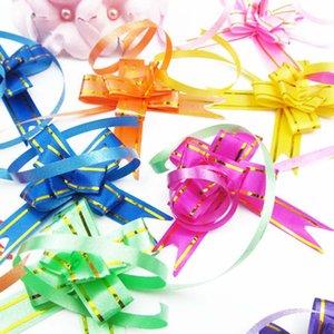 Regalo arco de la cinta arco envoltura tirón 10pcs / papel de regalo de cumpleaños de la boda fuentes del partido decoración del hogar tirón de bricolaje cinta de la flor