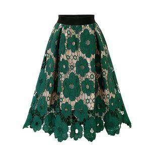 Female crotch lace knee-length lady soft elastic flared skater skirt