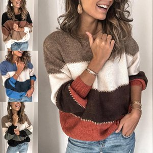 Women's autumn and winter new solid color stitching sweater shirt casual contrast color round neck sweater women pullovers